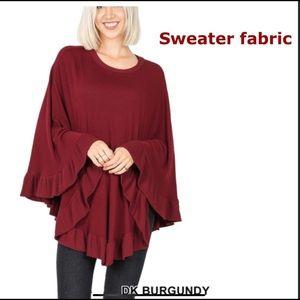 NEW Poncho Sweater Beautiful Burg Knit w/ruffle